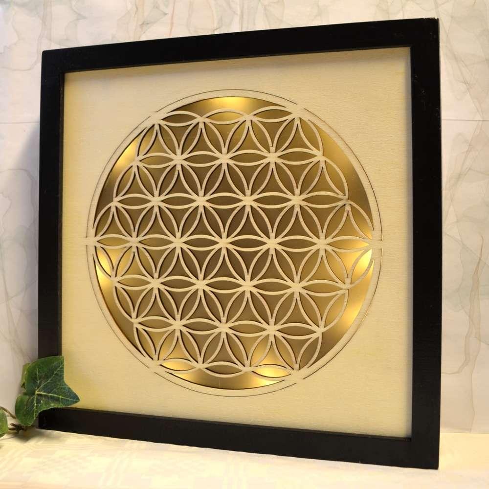 Ambientelicht Blume des Lebens Holzrahmen - Magic Triangles